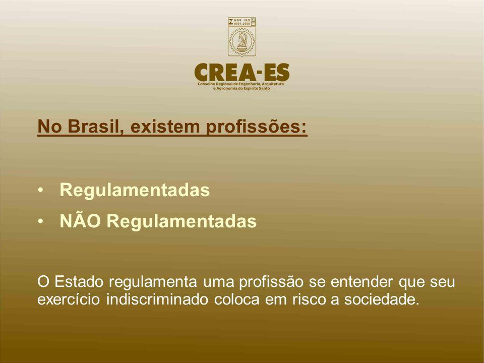 No Brasil, existem profissões: Regulamentadas NÃO Regulamentadas O Estado regulamenta uma profissão se entender que seu exercício indiscriminado coloc