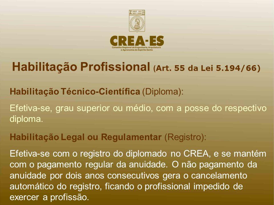 Habilitação Profissional ( Art. 55 da Lei 5.194/66) Habilitação Técnico-Científica (Diploma): Efetiva-se, grau superior ou médio, com a posse do respe