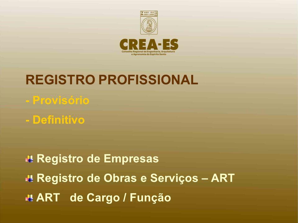 REGISTRO PROFISSIONAL - Provisório - Definitivo Registro de Empresas Registro de Obras e Serviços – ART ART de Cargo / Função