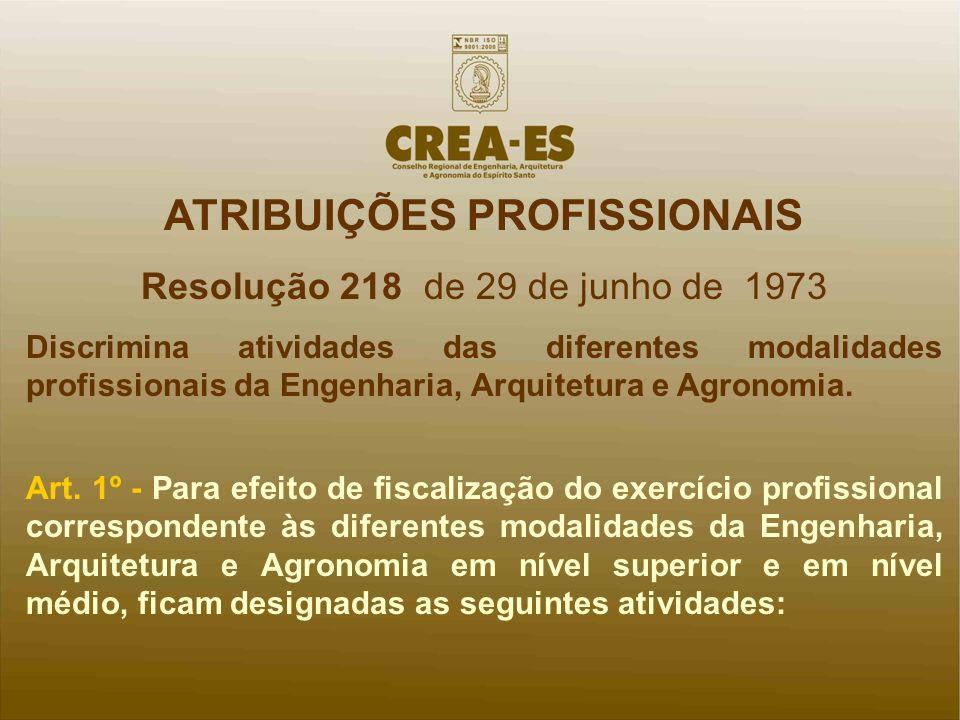 ATRIBUIÇÕES PROFISSIONAIS Resolução 218 de 29 de junho de 1973 Discrimina atividades das diferentes modalidades profissionais da Engenharia, Arquitetu