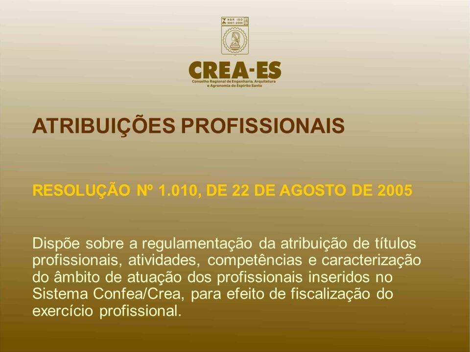 ATRIBUIÇÕES PROFISSIONAIS RESOLUÇÃO Nº 1.010, DE 22 DE AGOSTO DE 2005 Dispõe sobre a regulamentação da atribuição de títulos profissionais, atividades