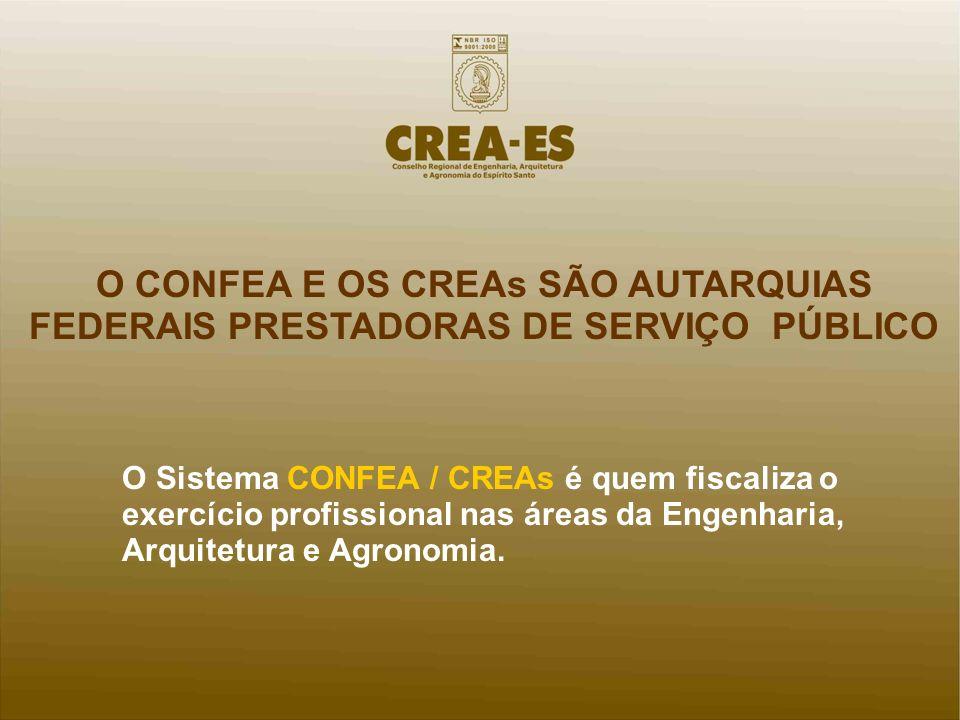 O CONFEA E OS CREAs SÃO AUTARQUIAS FEDERAIS PRESTADORAS DE SERVIÇO PÚBLICO O Sistema CONFEA / CREAs é quem fiscaliza o exercício profissional nas área