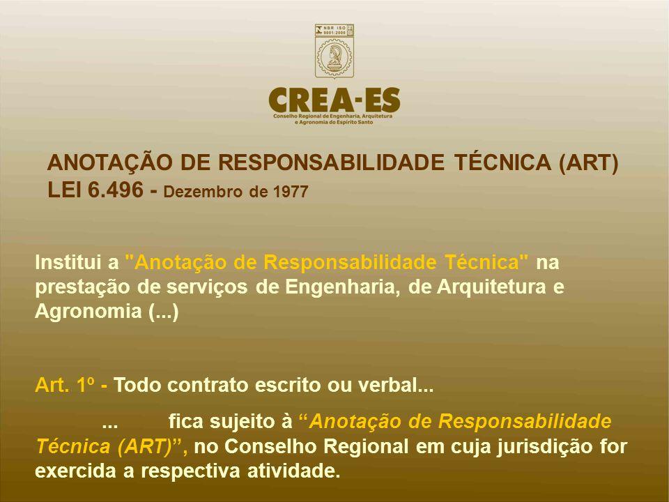 ANOTAÇÃO DE RESPONSABILIDADE TÉCNICA (ART) LEI 6.496 - Dezembro de 1977 Institui a
