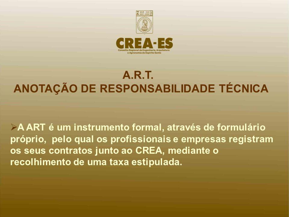 A ART é um instrumento formal, através de formulário próprio, pelo qual os profissionais e empresas registram os seus contratos junto ao CREA, mediant