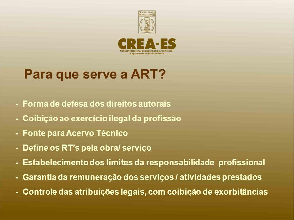 Para que serve a ART? - Forma de defesa dos direitos autorais - Coibição ao exercício ilegal da profissão - Fonte para Acervo Técnico - Define os RTs