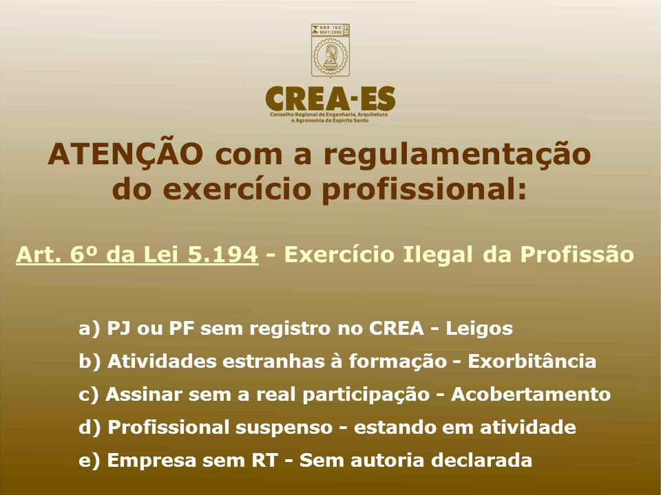 Art. 6º da Lei 5.194 - Exercício Ilegal da Profissão a) PJ ou PF sem registro no CREA - Leigos b) Atividades estranhas à formação - Exorbitância c) As