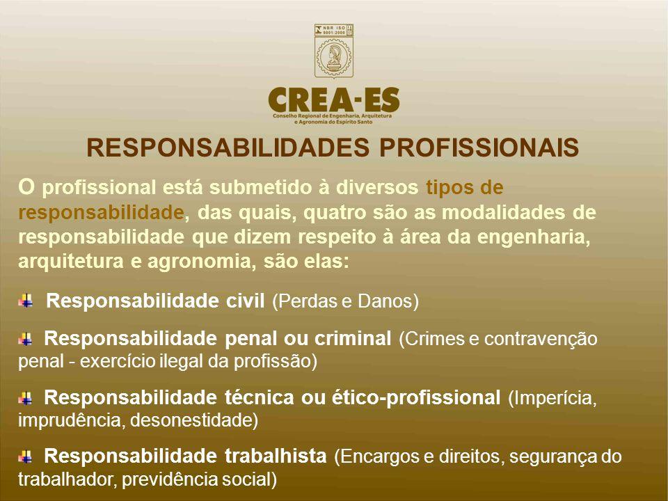 RESPONSABILIDADES PROFISSIONAIS O profissional está submetido à diversos tipos de responsabilidade, das quais, quatro são as modalidades de responsabi