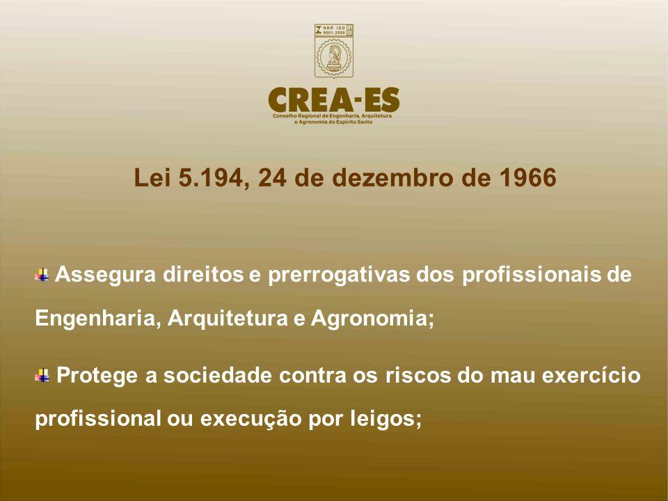 Lei 5.194, 24 de dezembro de 1966 Assegura direitos e prerrogativas dos profissionais de Engenharia, Arquitetura e Agronomia; Protege a sociedade cont