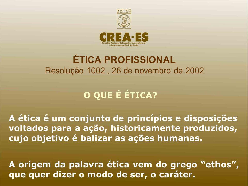 ÉTICA PROFISSIONAL Resolução 1002, 26 de novembro de 2002 A ética é um conjunto de princípios e disposições voltados para a ação, historicamente produ