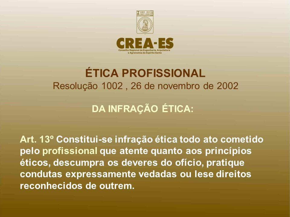 ÉTICA PROFISSIONAL Resolução 1002, 26 de novembro de 2002 DA INFRAÇÃO ÉTICA: Art. 13º Constitui-se infração ética todo ato cometido pelo profissional