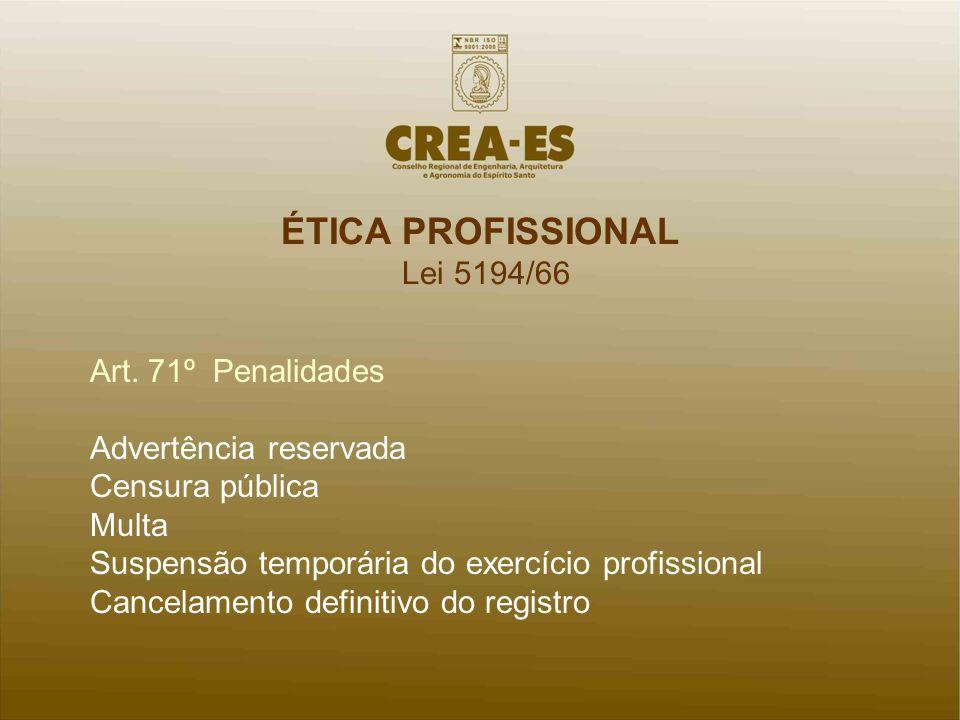 ÉTICA PROFISSIONAL Lei 5194/66 Art. 71º Penalidades Advertência reservada Censura pública Multa Suspensão temporária do exercício profissional Cancela