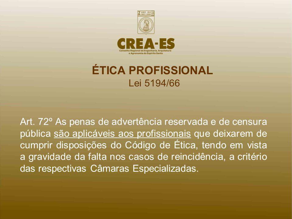 ÉTICA PROFISSIONAL Lei 5194/66 Art. 72º As penas de advertência reservada e de censura pública são aplicáveis aos profissionais que deixarem de cumpri