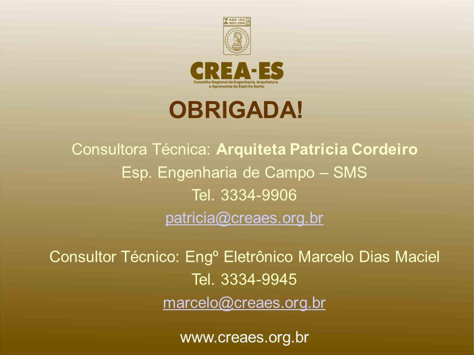 OBRIGADA! Consultora Técnica: Arquiteta Patricia Cordeiro Esp. Engenharia de Campo – SMS Tel. 3334-9906 patricia@creaes.org.br Consultor Técnico: Engº