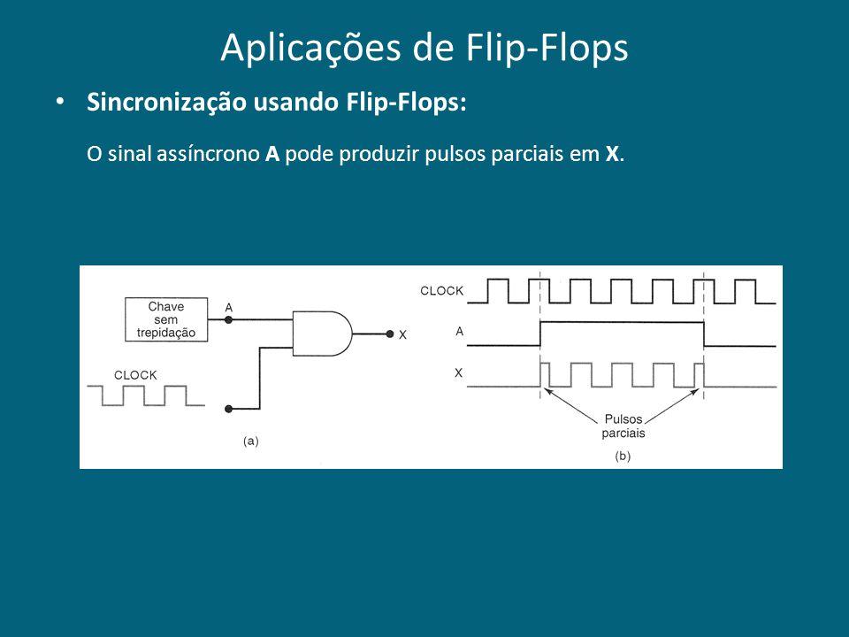 Aplicações de Flip-Flops Sincronização usando Flip-Flops: O sinal assíncrono A pode produzir pulsos parciais em X.