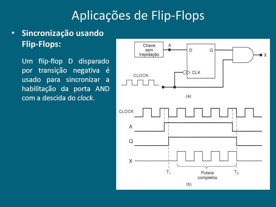 Aplicações de Flip-Flops Sincronização usando Flip-Flops: Um flip-flop D disparado por transição negativa é usado para sincronizar a habilitação da po