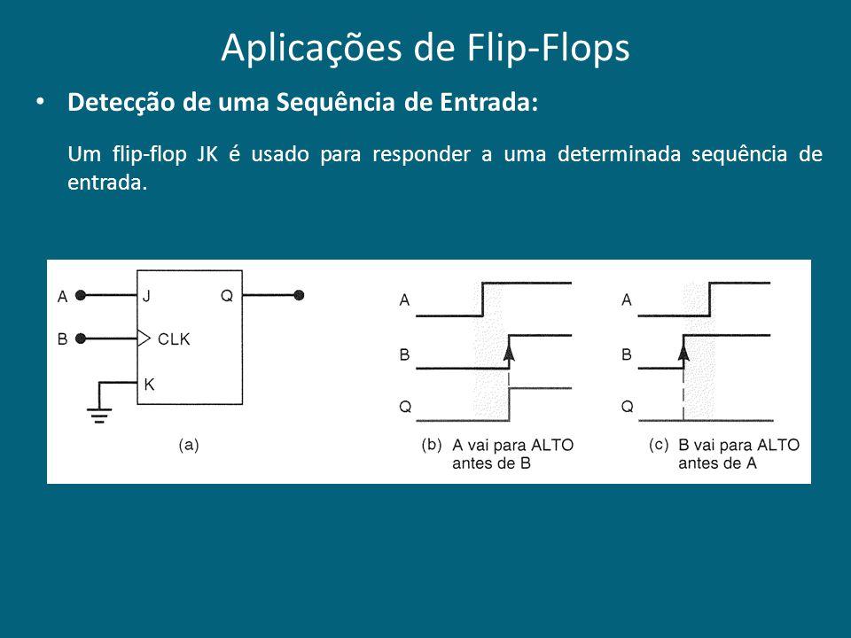 Aplicações de Flip-Flops Detecção de uma Sequência de Entrada: Um flip-flop JK é usado para responder a uma determinada sequência de entrada.