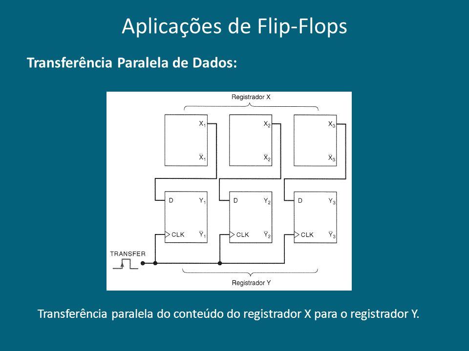 Transferência Paralela de Dados: Transferência paralela do conteúdo do registrador X para o registrador Y. Aplicações de Flip-Flops