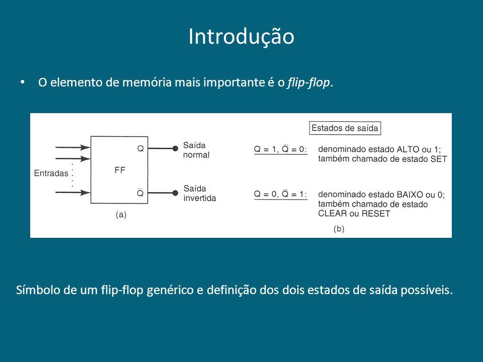 Introdução Símbolo de um flip-flop genérico e definição dos dois estados de saída possíveis. O elemento de memória mais importante é o flip-flop.