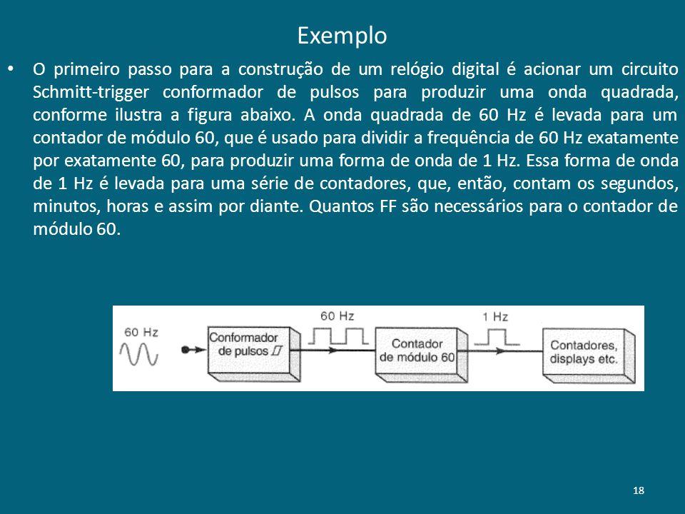 Exemplo O primeiro passo para a construção de um relógio digital é acionar um circuito Schmitt-trigger conformador de pulsos para produzir uma onda quadrada, conforme ilustra a figura abaixo.