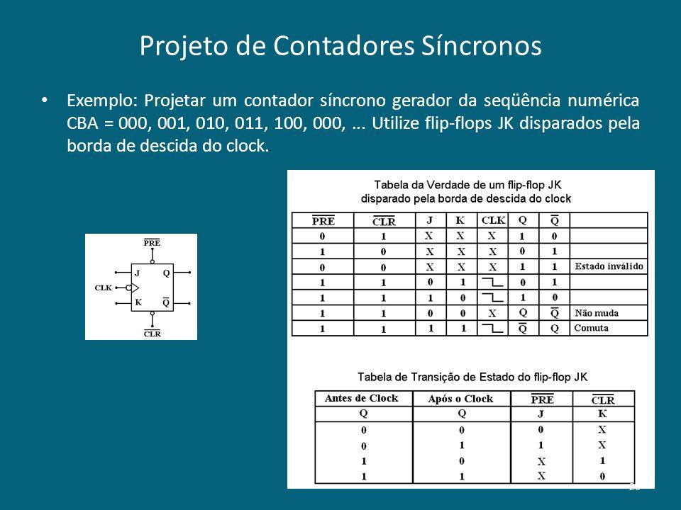 Projeto de Contadores Síncronos Exemplo: Projetar um contador síncrono gerador da seqüência numérica CBA = 000, 001, 010, 011, 100, 000,... Utilize fl