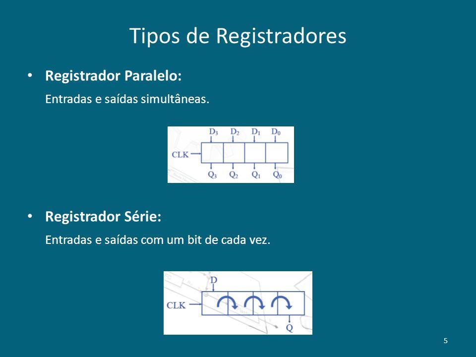 Tipos de Registradores Registrador Paralelo: Entradas e saídas simultâneas. Registrador Série: Entradas e saídas com um bit de cada vez. 5