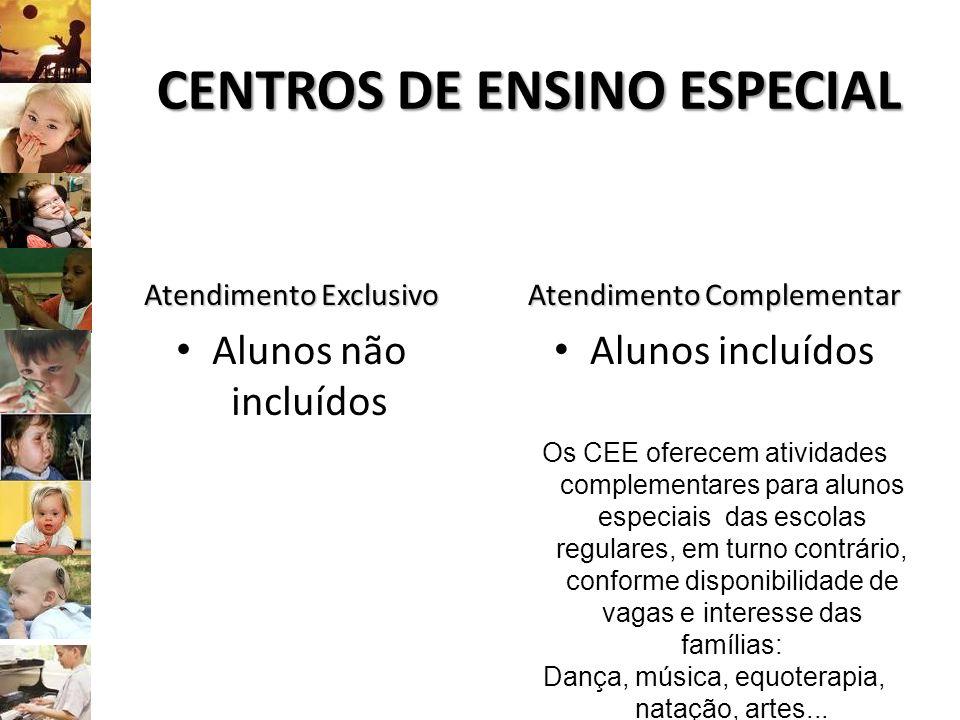 CENTROS DE ENSINO ESPECIAL Atendimento Exclusivo Alunos não incluídos Atendimento Complementar Alunos incluídos Os CEE oferecem atividades complementa