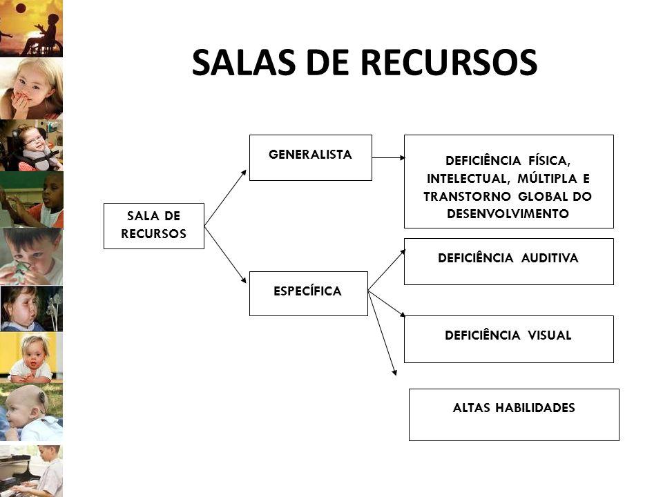 SALAS DE RECURSOS SALA DE RECURSOS ESPECÍFICA GENERALISTA ALTAS HABILIDADES DEFICIÊNCIA VISUAL DEFICIÊNCIA AUDITIVA DEFICIÊNCIA FÍSICA, INTELECTUAL, M