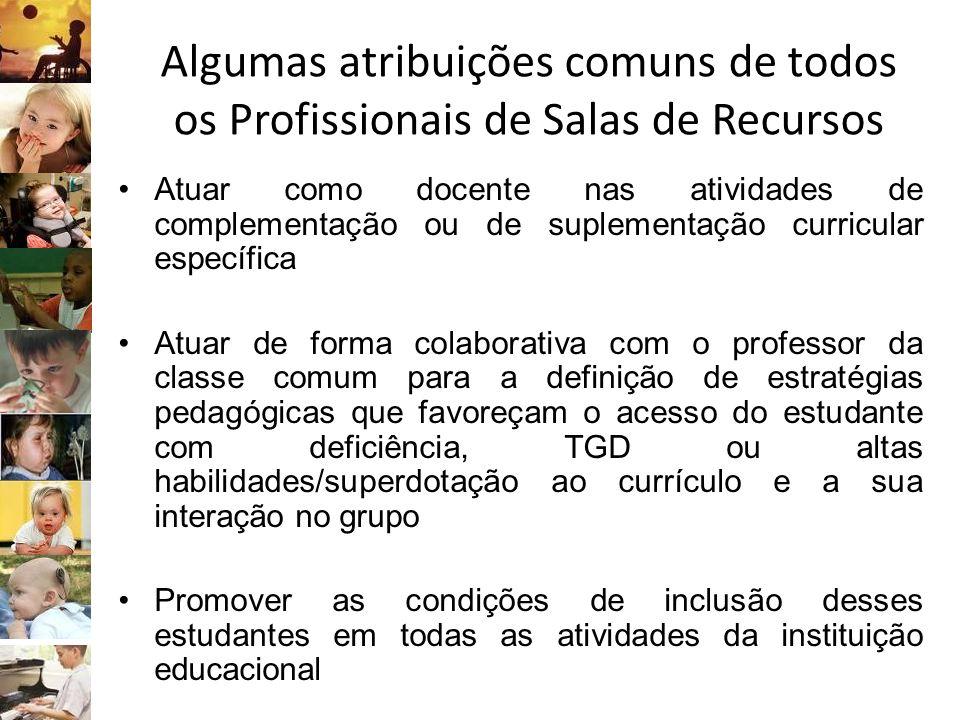 Algumas atribuições comuns de todos os Profissionais de Salas de Recursos Atuar como docente nas atividades de complementação ou de suplementação curr