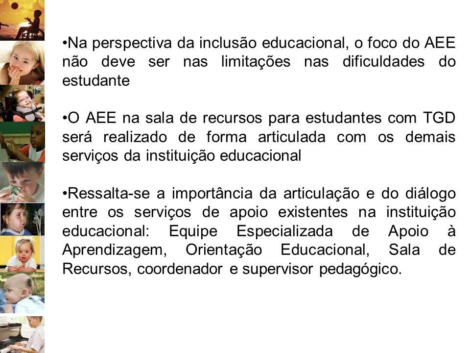 Na perspectiva da inclusão educacional, o foco do AEE não deve ser nas limitações nas dificuldades do estudante O AEE na sala de recursos para estudan