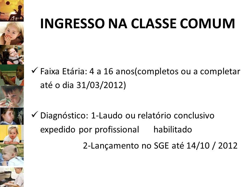 INGRESSO NA CLASSE COMUM Faixa Etária: 4 a 16 anos(completos ou a completar até o dia 31/03/2012) Diagnóstico: 1-Laudo ou relatório conclusivo expedid