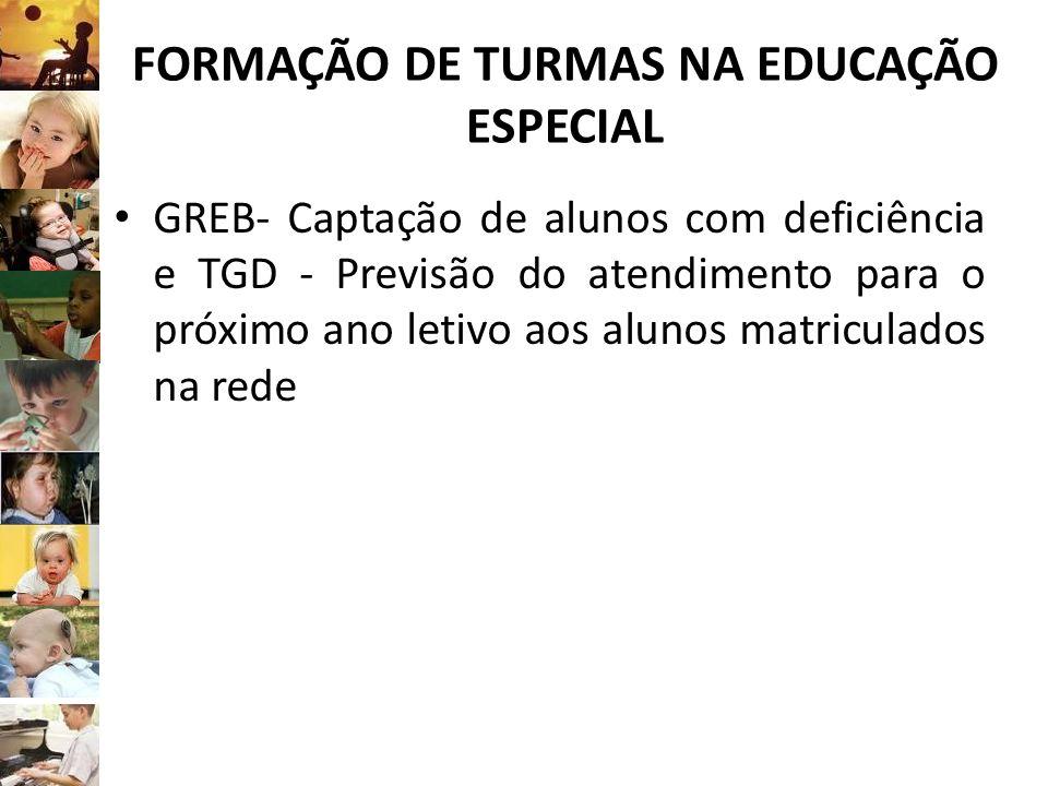FORMAÇÃO DE TURMAS NA EDUCAÇÃO ESPECIAL GREB- Captação de alunos com deficiência e TGD - Previsão do atendimento para o próximo ano letivo aos alunos
