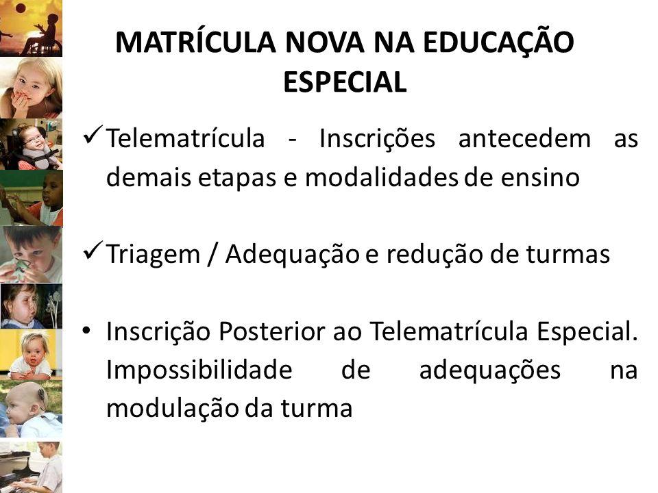 MATRÍCULA NOVA NA EDUCAÇÃO ESPECIAL Telematrícula - Inscrições antecedem as demais etapas e modalidades de ensino Triagem / Adequação e redução de tur