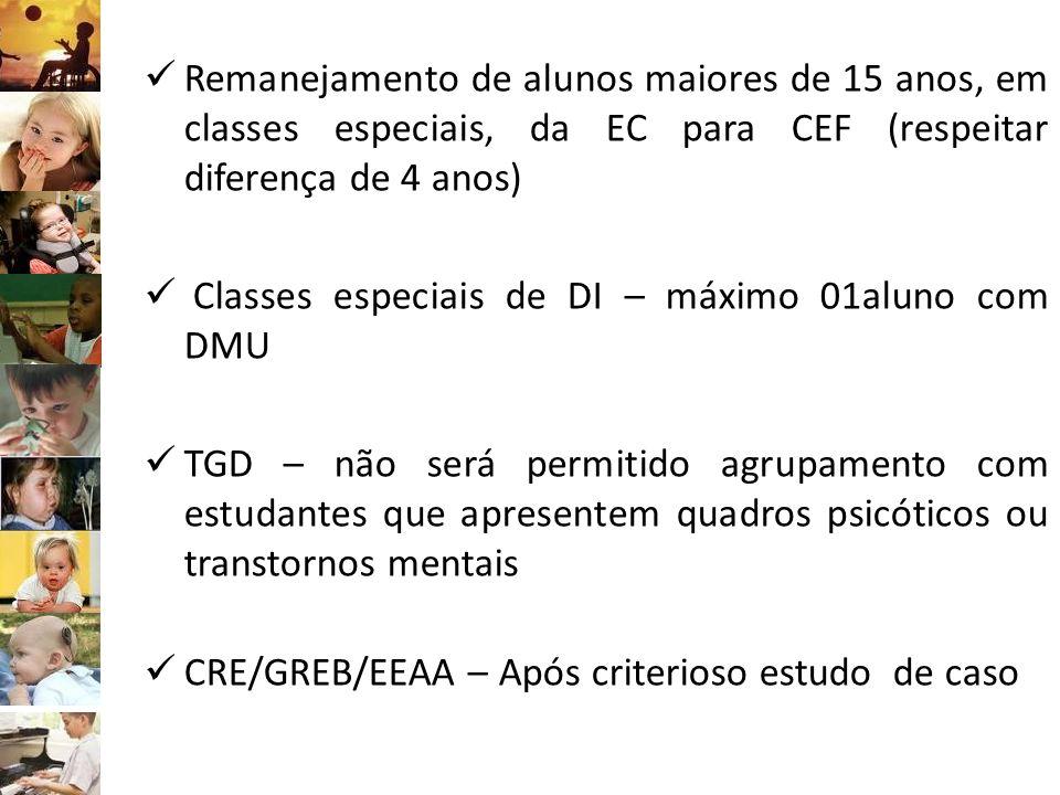 Remanejamento de alunos maiores de 15 anos, em classes especiais, da EC para CEF (respeitar diferença de 4 anos) Classes especiais de DI – máximo 01al