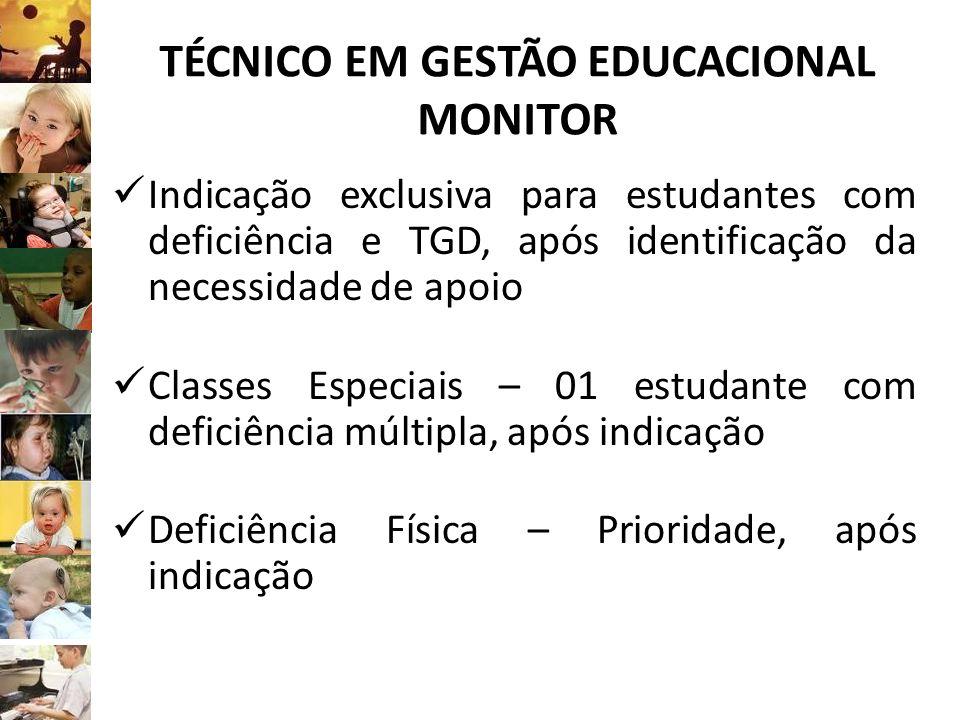 TÉCNICO EM GESTÃO EDUCACIONAL MONITOR Indicação exclusiva para estudantes com deficiência e TGD, após identificação da necessidade de apoio Classes Es