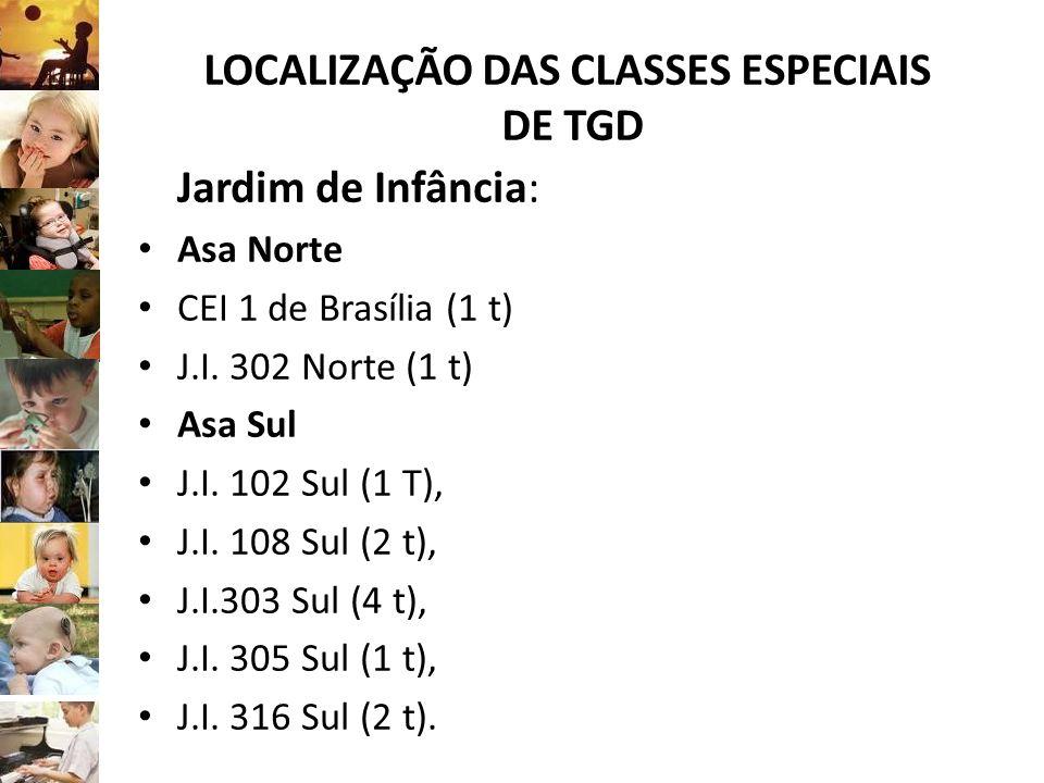 LOCALIZAÇÃO DAS CLASSES ESPECIAIS DE TGD Jardim de Infância: Asa Norte CEI 1 de Brasília (1 t) J.I. 302 Norte (1 t) Asa Sul J.I. 102 Sul (1 T), J.I. 1