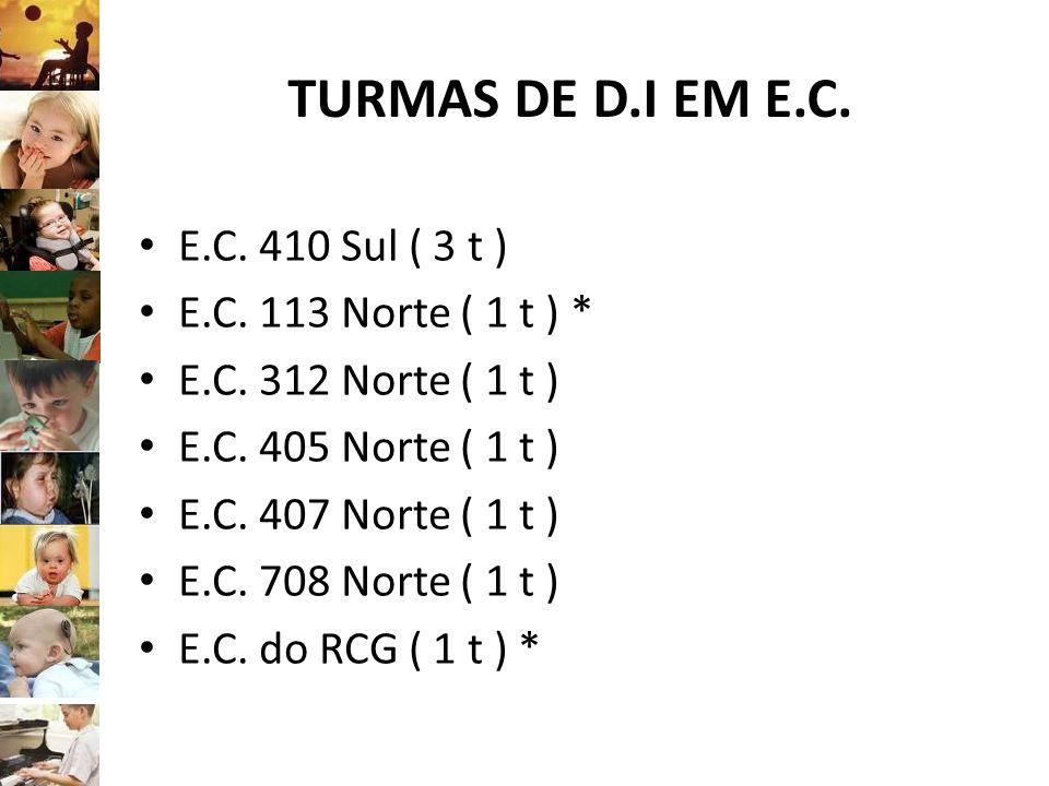TURMAS DE D.I EM E.C. E.C. 410 Sul ( 3 t ) E.C. 113 Norte ( 1 t ) * E.C. 312 Norte ( 1 t ) E.C. 405 Norte ( 1 t ) E.C. 407 Norte ( 1 t ) E.C. 708 Nort