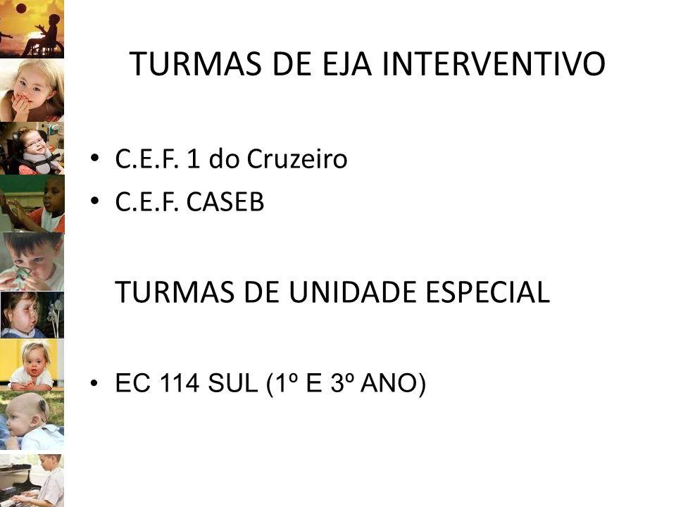 TURMAS DE EJA INTERVENTIVO C.E.F. 1 do Cruzeiro C.E.F. CASEB TURMAS DE UNIDADE ESPECIAL EC 114 SUL (1º E 3º ANO)