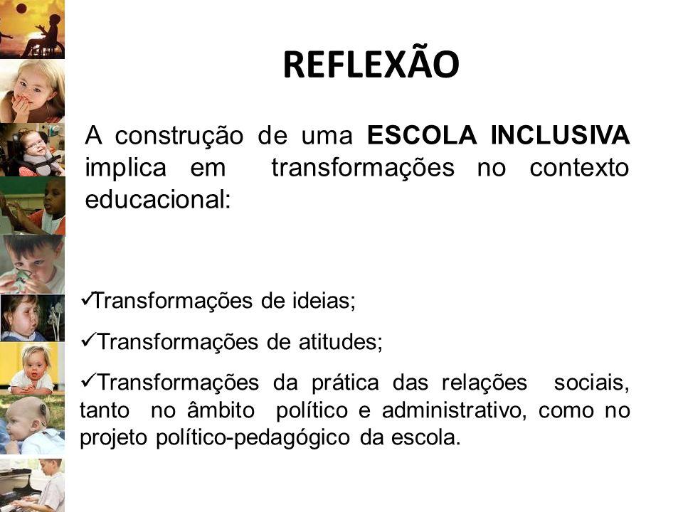 REFLEXÃO A construção de uma ESCOLA INCLUSIVA implica em transformações no contexto educacional: Transformações de ideias; Transformações de atitudes;