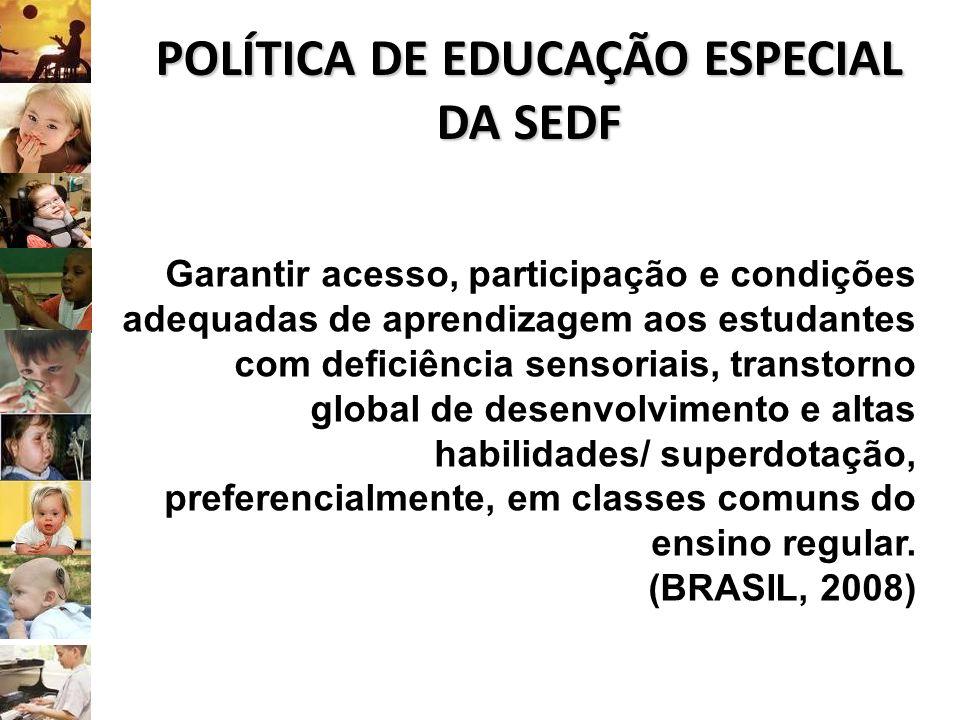POLÍTICA DE EDUCAÇÃO ESPECIAL DA SEDF Garantir acesso, participação e condições adequadas de aprendizagem aos estudantes com deficiência sensoriais, t