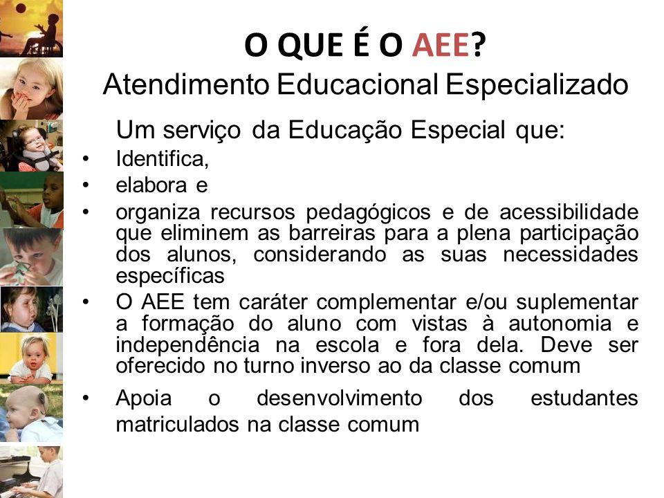 O QUE É O AEE? Atendimento Educacional Especializado Um serviço da Educação Especial que: Identifica, elabora e organiza recursos pedagógicos e de ace