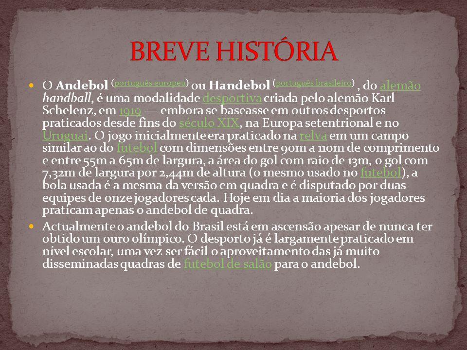 O Andebol (português europeu) ou Handebol (português brasileiro), do alemão handball, é uma modalidade desportiva criada pelo alemão Karl Schelenz, em