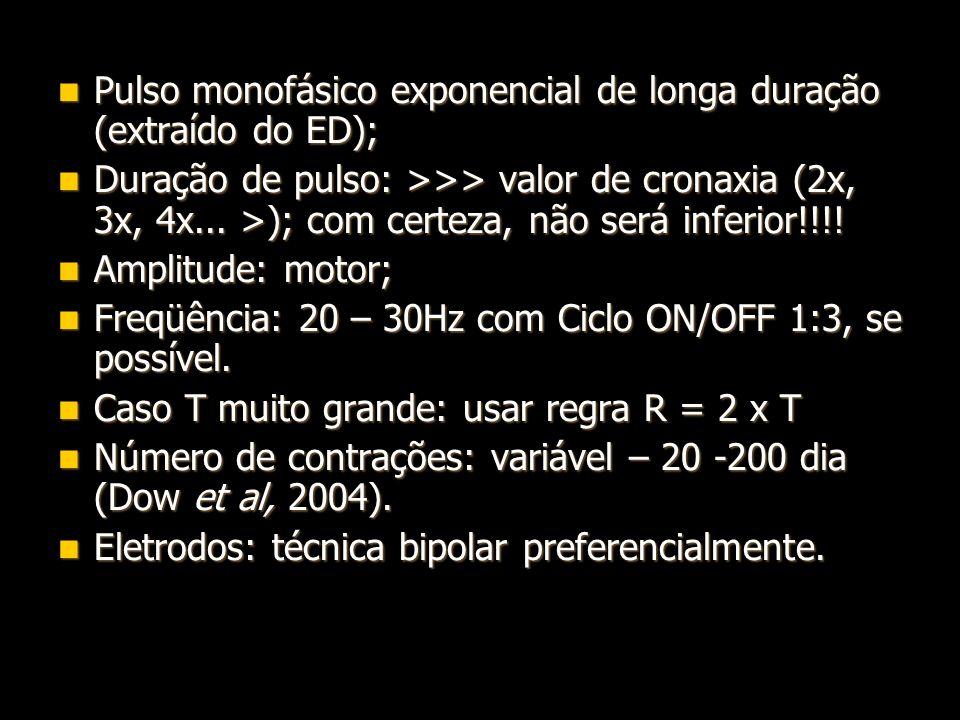 Pulso monofásico exponencial de longa duração (extraído do ED); Pulso monofásico exponencial de longa duração (extraído do ED); Duração de pulso: >>>