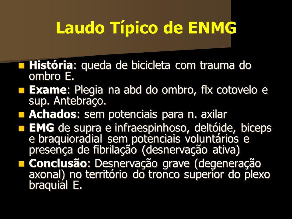 Laudo Típico de ENMG História: queda de bicicleta com trauma do ombro E. História: queda de bicicleta com trauma do ombro E. Exame: Plegia na abd do o