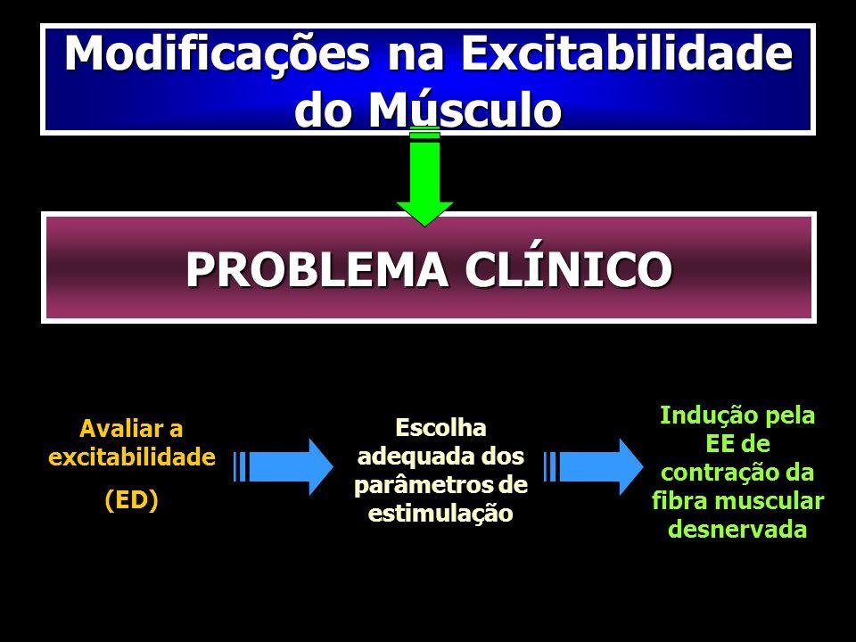 Modificações na Excitabilidade do Músculo PROBLEMA CLÍNICO Avaliar a excitabilidade (ED) Escolha adequada dos parâmetros de estimulação Indução pela E