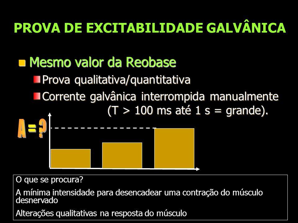 PROVA DE EXCITABILIDADE GALVÂNICA Mesmo valor da Reobase Mesmo valor da Reobase Prova qualitativa/quantitativa Corrente galvânica interrompida manualm