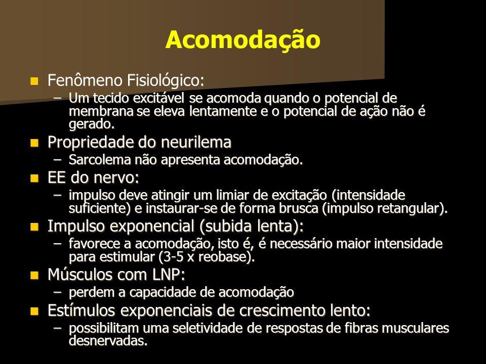 Acomodação Fenômeno Fisiológico: Fenômeno Fisiológico: –Um tecido excitável se acomoda quando o potencial de membrana se eleva lentamente e o potencia