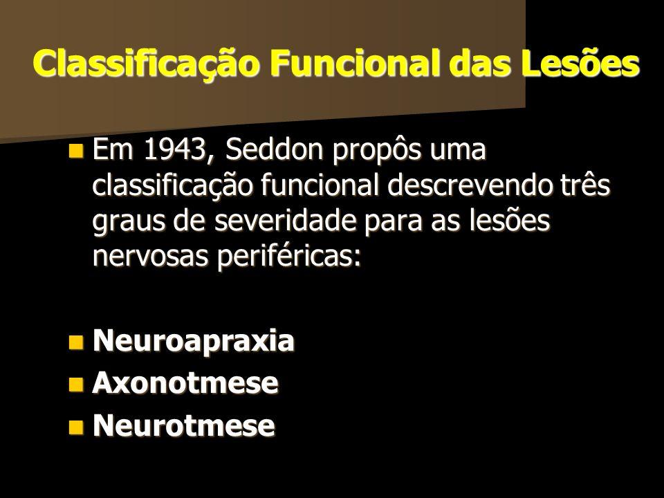 Classificação Funcional das Lesões Em 1943, Seddon propôs uma classificação funcional descrevendo três graus de severidade para as lesões nervosas per