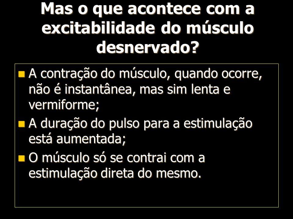 Mas o que acontece com a excitabilidade do músculo desnervado? A contração do músculo, quando ocorre, não é instantânea, mas sim lenta e vermiforme; A