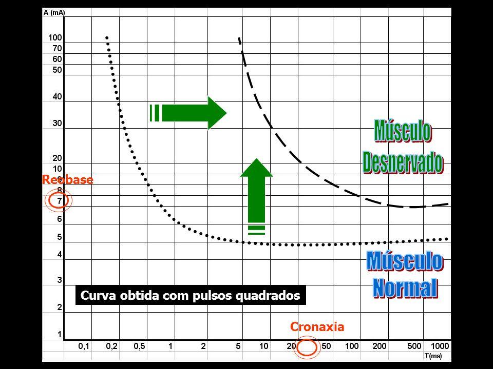 Reobase Cronaxia Curva obtida com pulsos quadrados