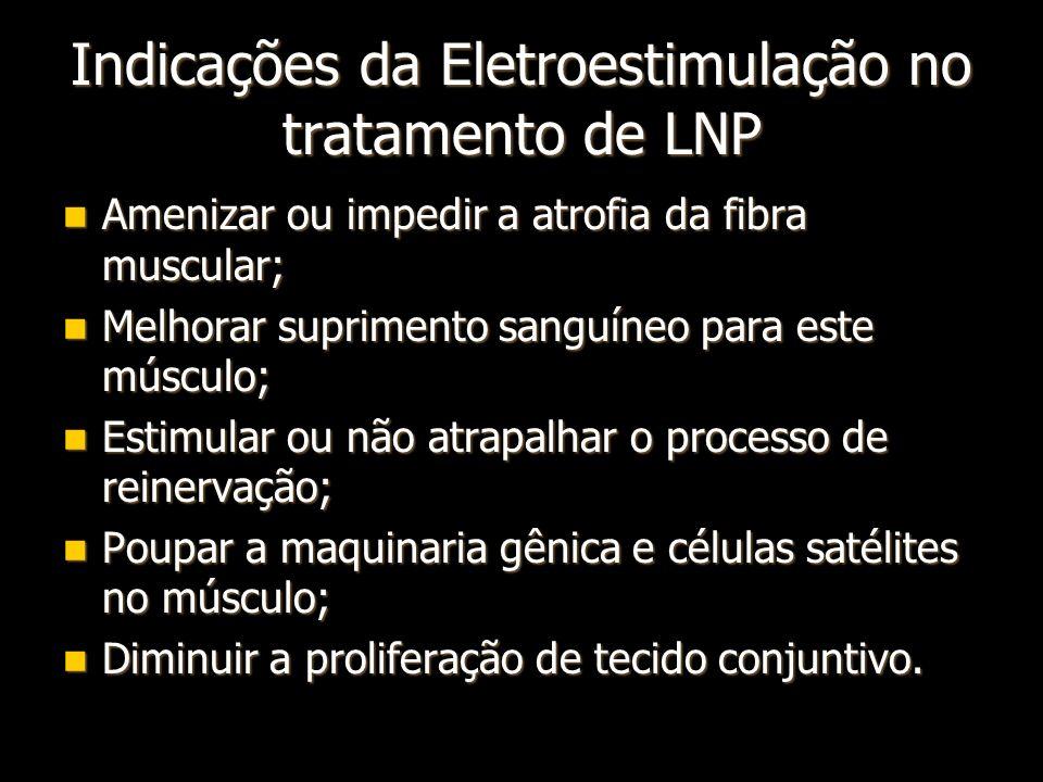 Indicações da Eletroestimulação no tratamento de LNP Amenizar ou impedir a atrofia da fibra muscular; Amenizar ou impedir a atrofia da fibra muscular;